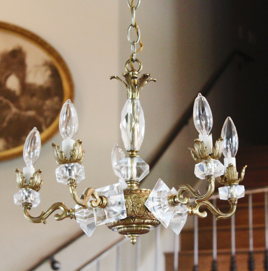 Art Deco Brass & Crystal Antique Chandelier