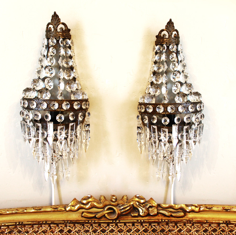 Pair Antique Crystal French Empire Wall Sconces