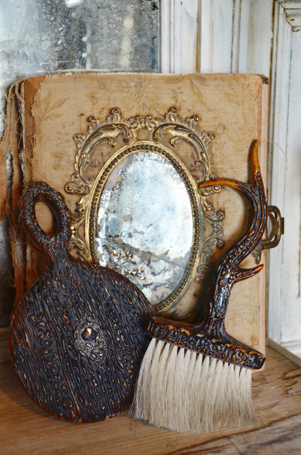 Victorian Antique Antler Mirror & Brush-