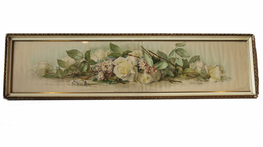 Antique Paul De Long Pre Bride Roses & Violets Yard Long