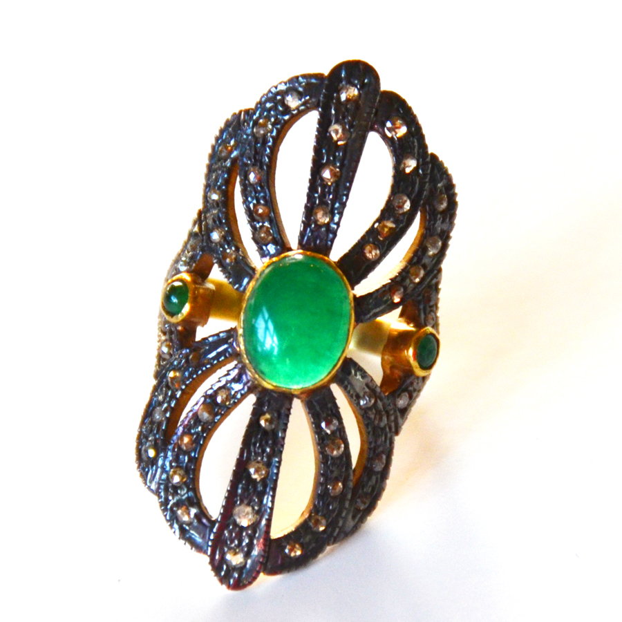 1.18 Carat Diamond & Emerald Cabochon Ring-
