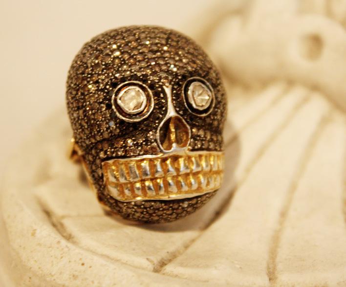 Skelton Skull Ring 18k Yellow Gold Gilt Fine Silver Diamonds-
