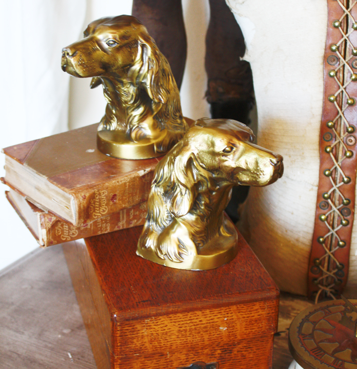 Pair Antique Brass Dog Bookends