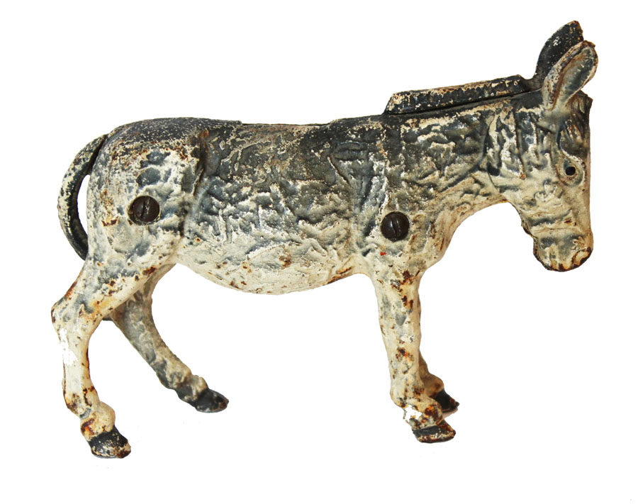 Antique Cast Iron Donkey Bank Great Decor Piece