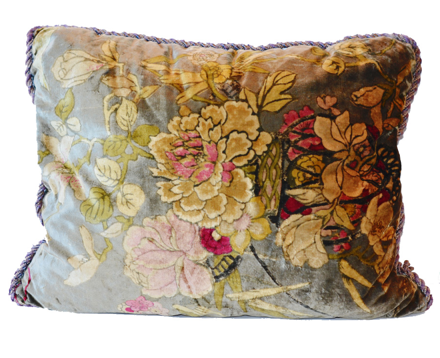 Antique French Down Velvet Oversized Pillow-