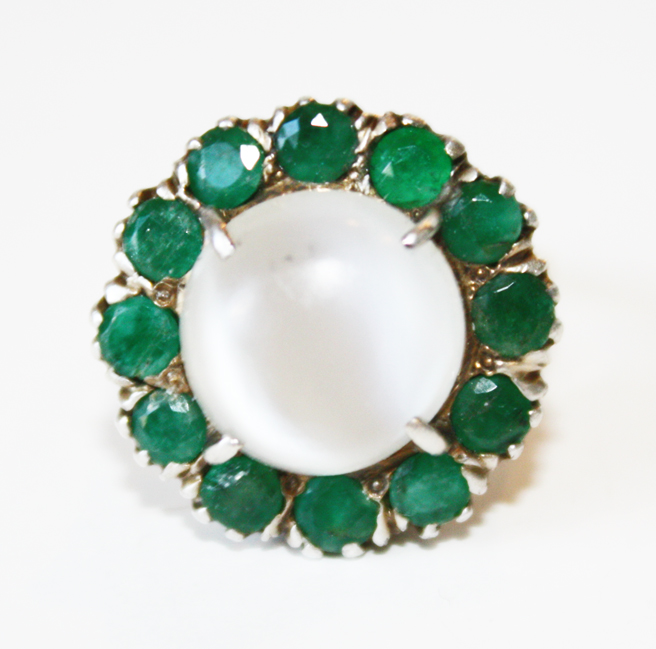 Antique Emerald & Moonstone Victorian Ring-