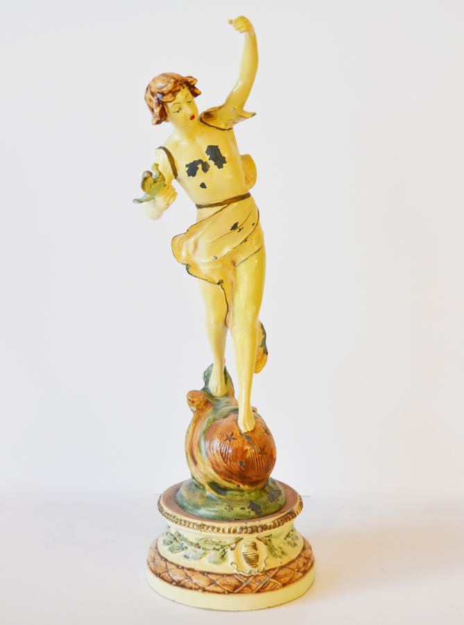 Antique Figural Statue Enamel Paint