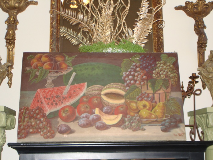 C 1800s Antique Signed Oil Painting Fruit Incredible Detail