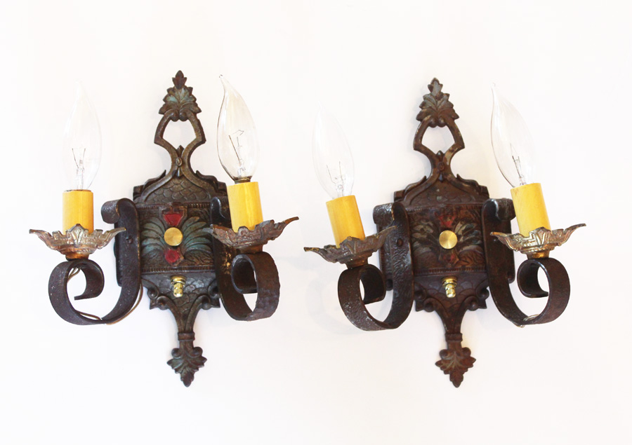 Pair Antique Arts & Crafts Wall Sconces Original Paint