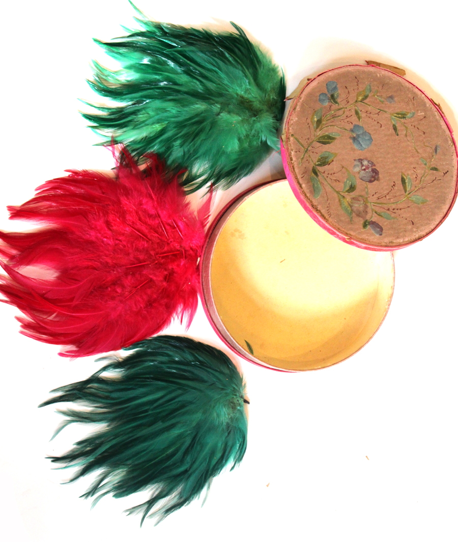 Rare Set of 3 Antique Flapper Feathers in Handpainted Box-