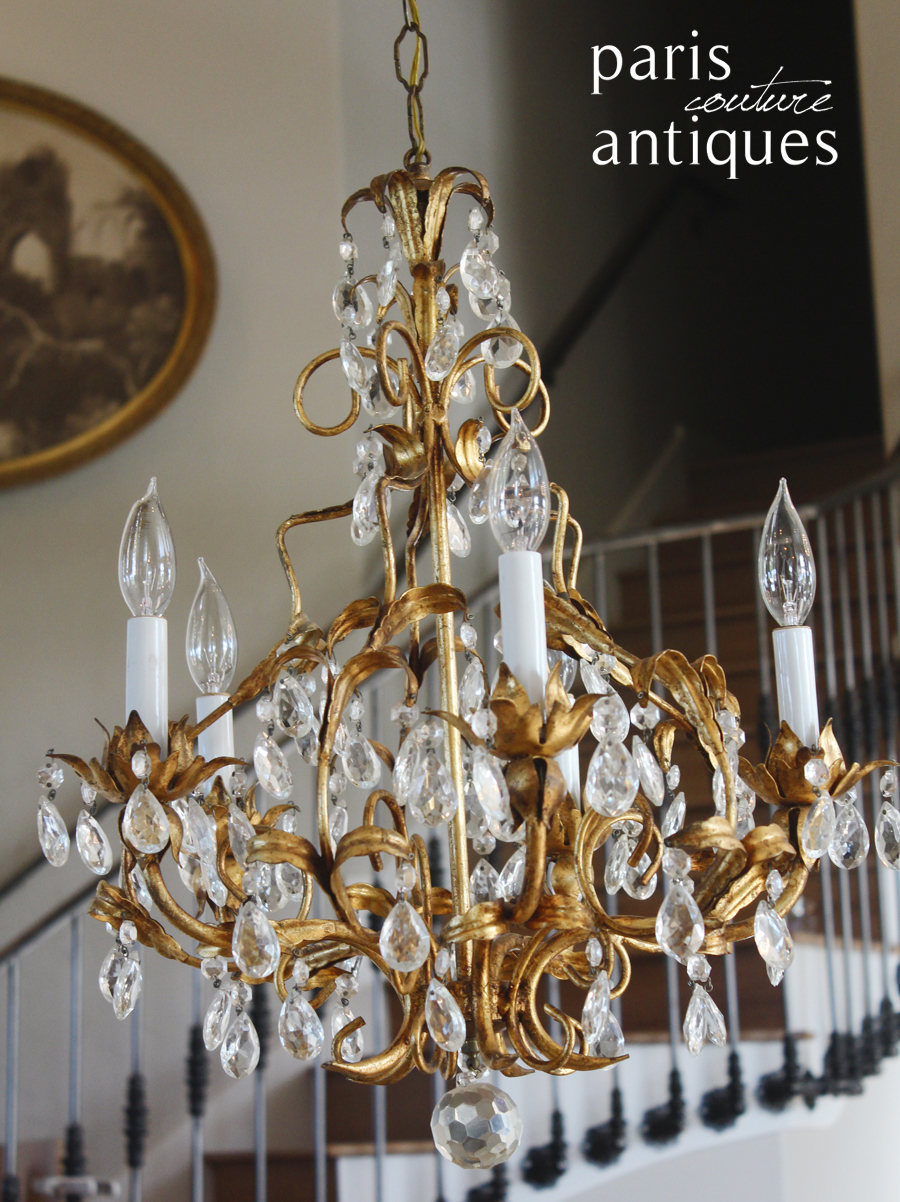 Italian Tole Gilt Crystal Prisms Antique Chandelier