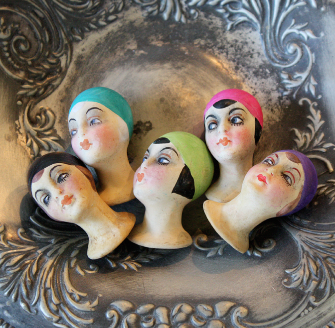 *Reserved*Set of Five Antique Flapper Doll Heads/Finger Puppets-
