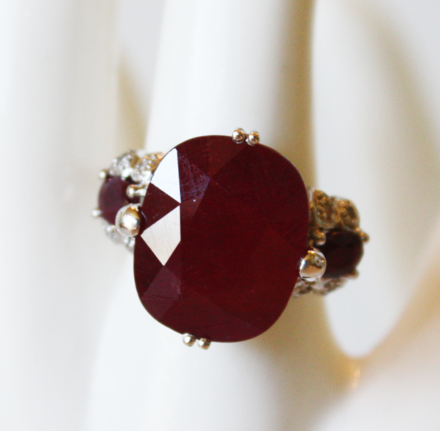 Large Estate Ruby and Diamonds Cocktail Ring-