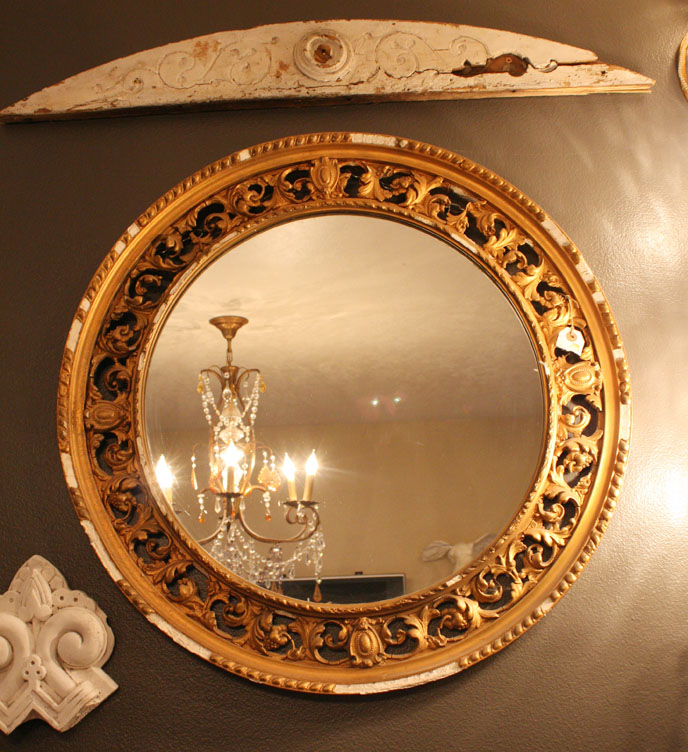 Antique Filligree Round Wall Mirror-