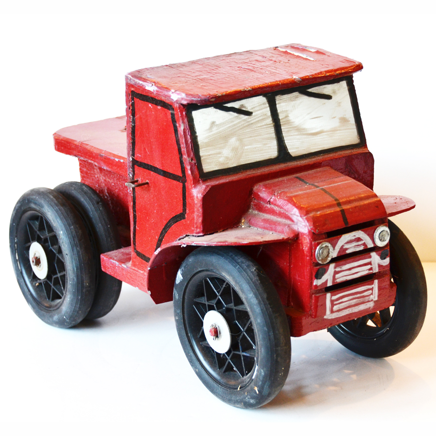 Antique Handmade Folk Art Wood Fire Truck-