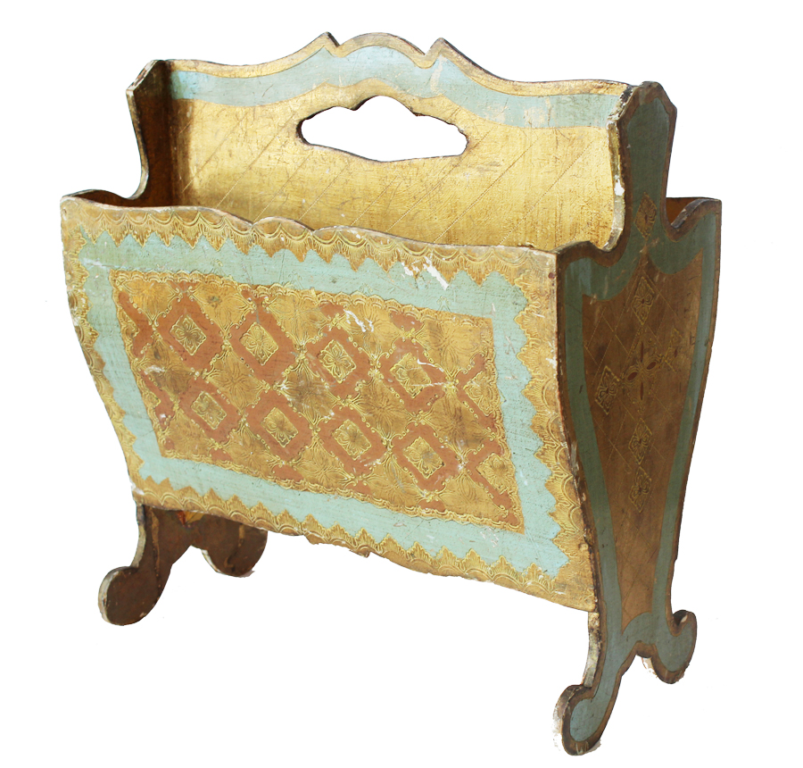 Italian Florentine Antique Gilt & Aqua Magazine Holder