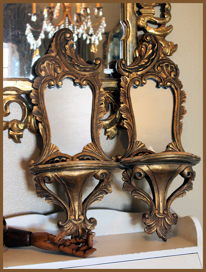 Italian Florentine Wood & Gilt Hand Carved Sconce Mirrors 1900s-