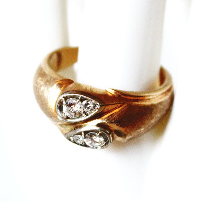 Gentlemens Antique 4 Diamonds Gold Ring-