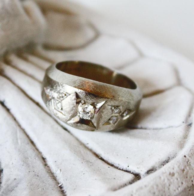 White Gold Gentlements Custom Diamond Ring Estate-