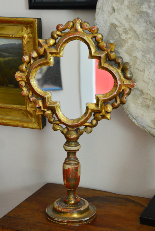 Italian Florentine Carved Mirror on Stand 1920s-