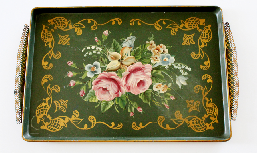 Antique Reticulated Xlrg Handpainted Tole Tray
