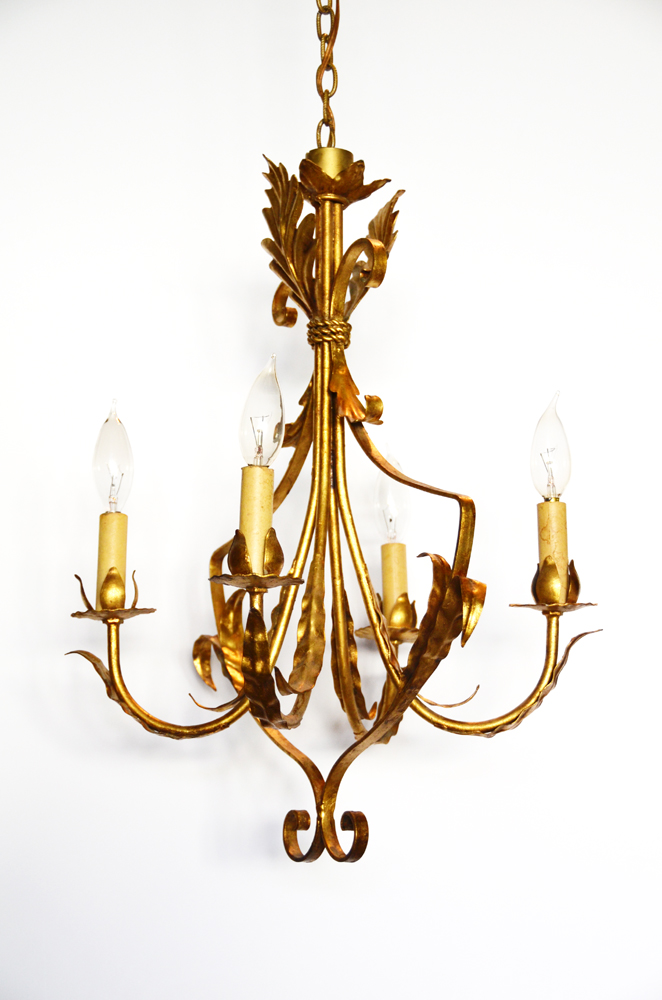 Antique Four Arm Italian Tole Gilt & Fleurs Chandelier-