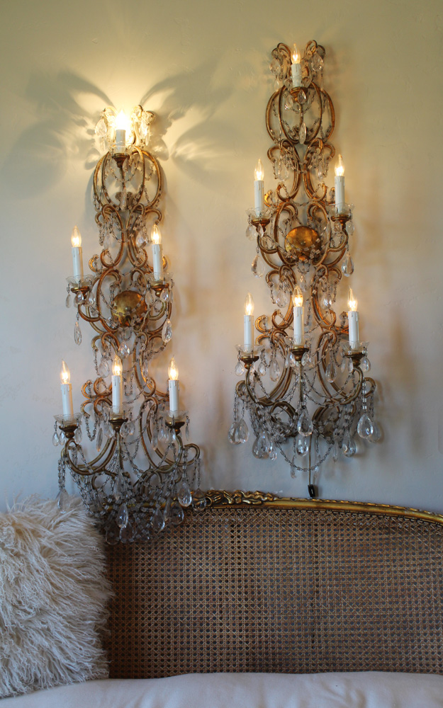 Rare Antique Pair Italian Macaroni Beaded Wall Sconces 4 Footers-Antique Italian beaded wall sconces 4 foot macaroni beading