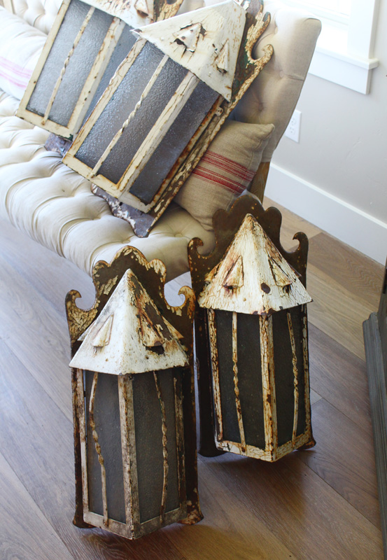 Rare French Set of 4 Antique Wall Lantern Sconces Incredible