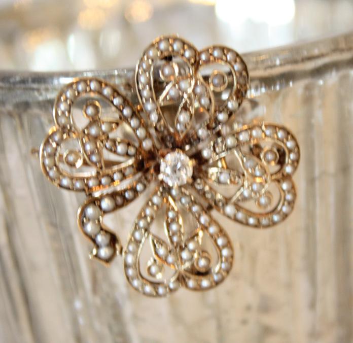 Antique Diamond & Seed Pearl Pendant-