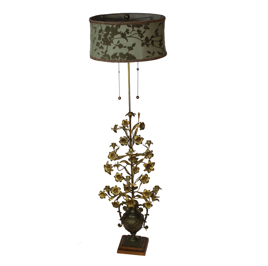 Antique French Tole Alter Candelabra Floor Lamp-