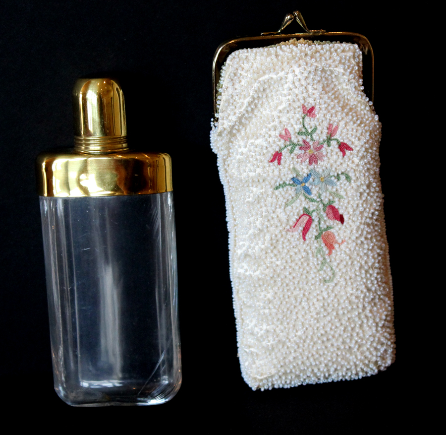 Antique French Seed Beaded Flask & Purse-