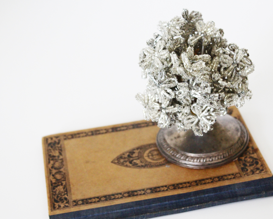 Antique French Sterling Silver Beaded Flower Display