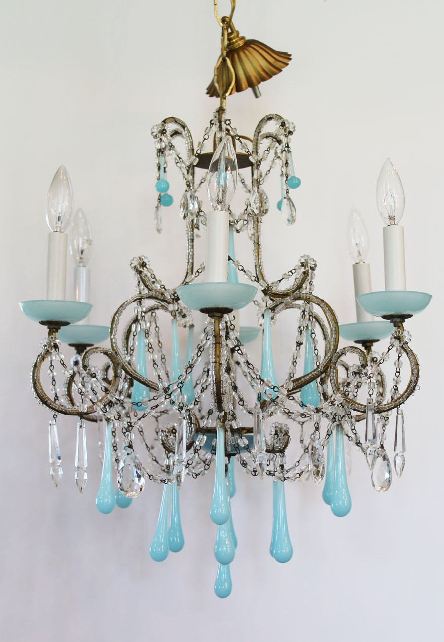 Rare Italian Beaded Antique Aqua Opaline Chandelier