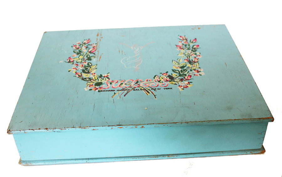 Antique French Blue Writing Artist Desk Handpainted Flowers