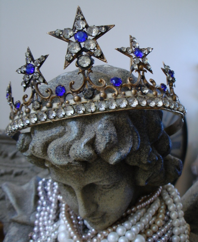 French Jeweled Antique Lifesize Crown 1800s-