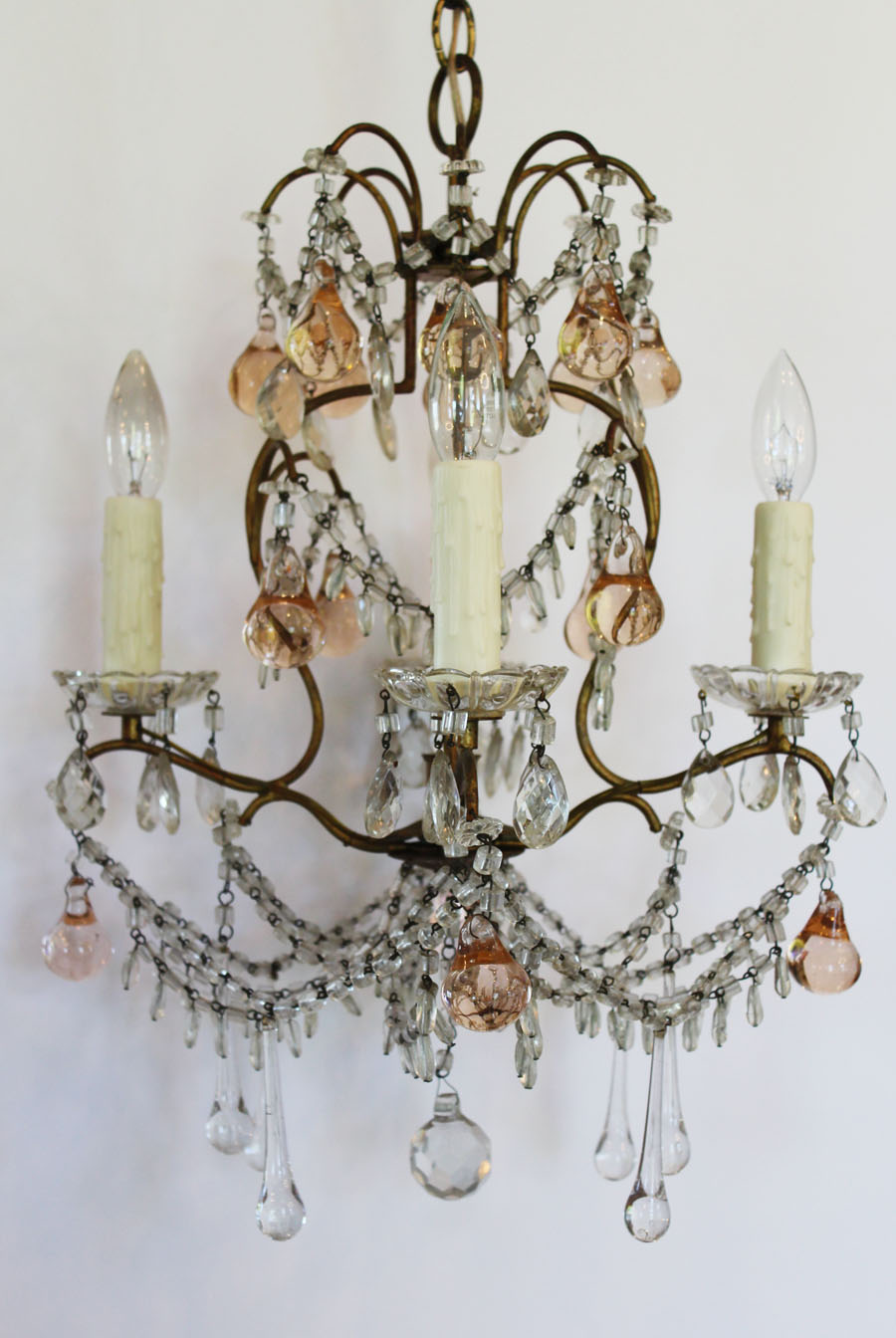 Antique French Blush Pink Beaded Chandelier My Fav!