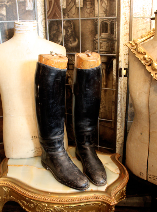 Pair Antique French Leather Riding Boots & Antique Boot Forms-