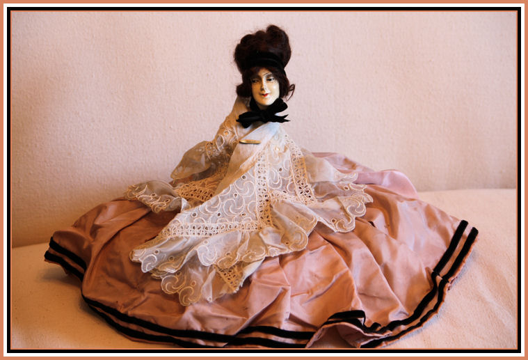 Paris France 1920s Chalkware Half Doll Gorgeous Dress