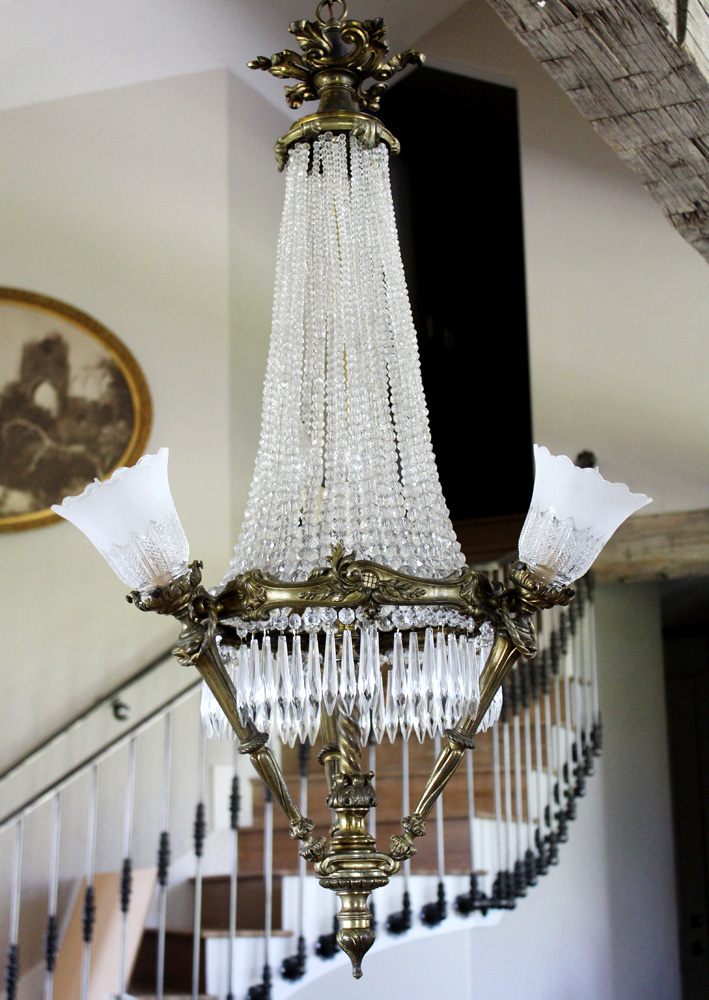 Antique French Bronze Crystal Chandelier Showstopper