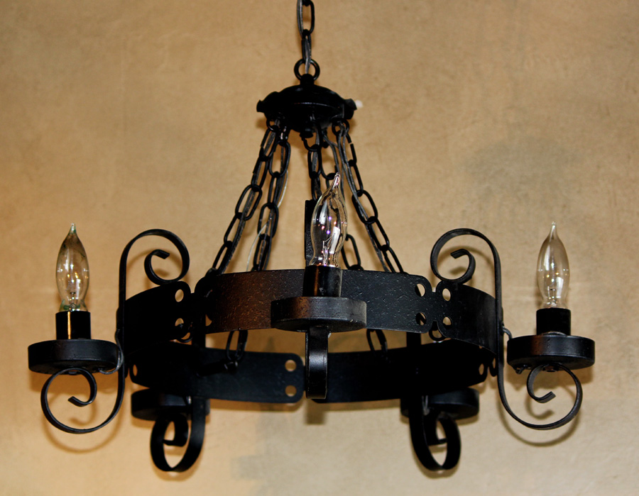 French Country Vintage Wrought Iron Chandelier-