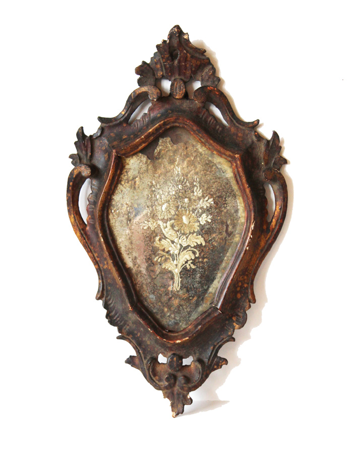 1710s French Etched & Handcarved Wood Mirror-