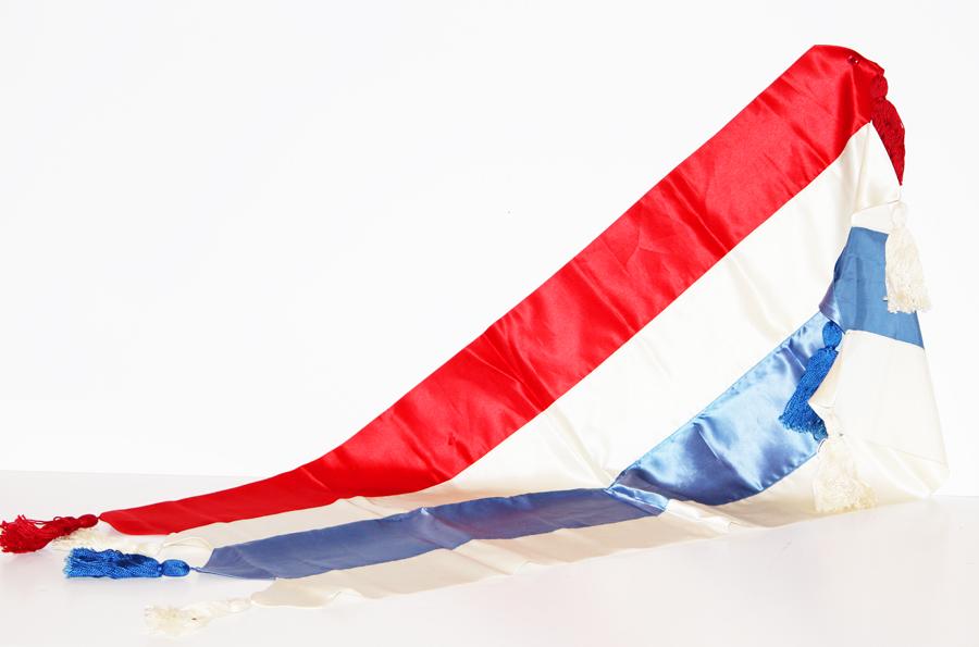 Antique Silk French Flag Table Runner-