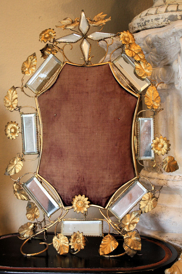 1800s French Gilt Ormolu Display Beveled Mirror Exquisite-