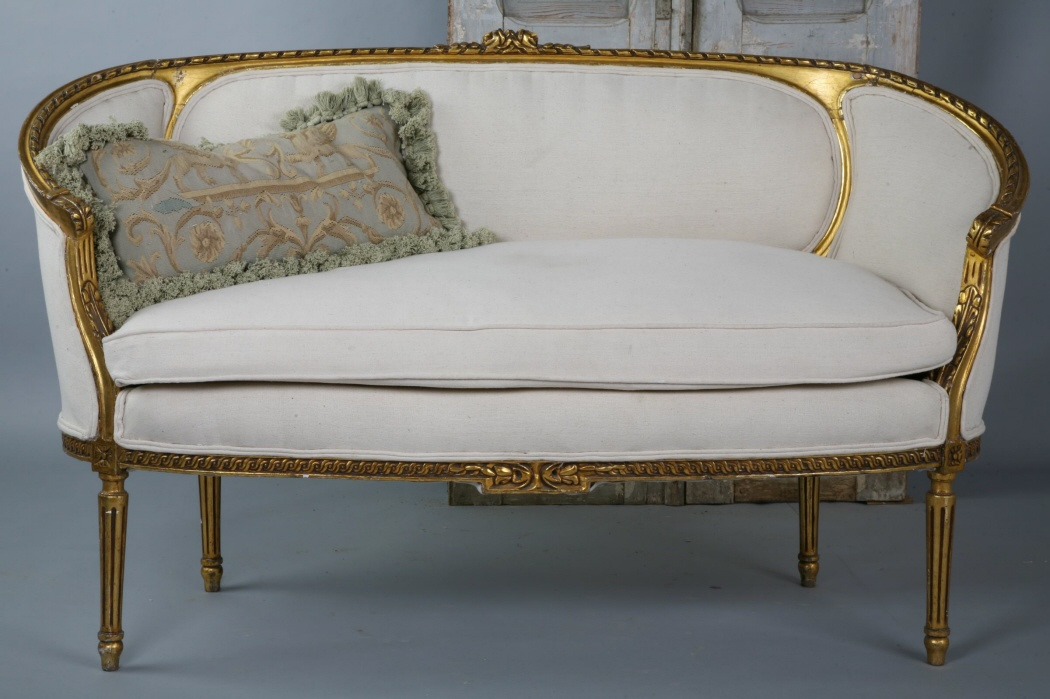 Incredible French Gilt Carved Settee New Upholstery-