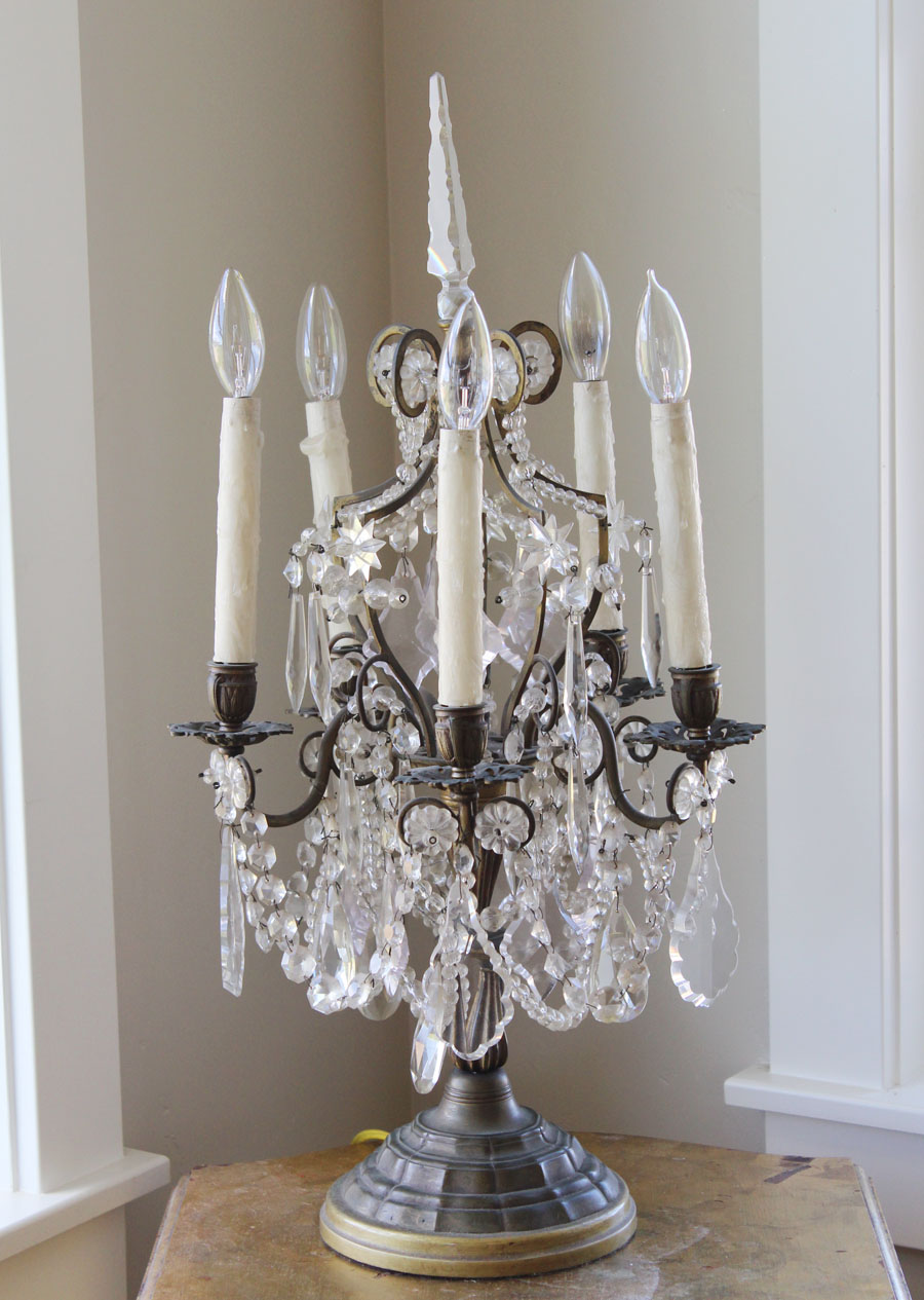 Antique Stunning French  Bronze Table Chandelier Girandole Rock Crystal Beading