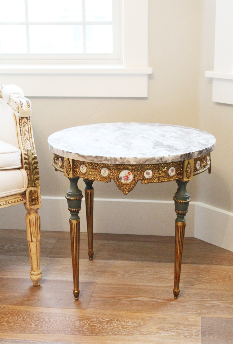 Incredible Antique French Cameo Marble Top End Table
