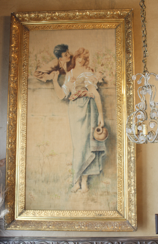 Xlrg Breathtaking Late 1800s Lovers Painting Original Frame-
