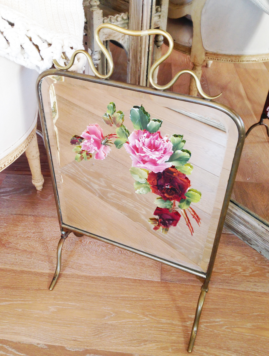 Antique Early 1900s Handpainted Roses Mirror & Brass Firescreen