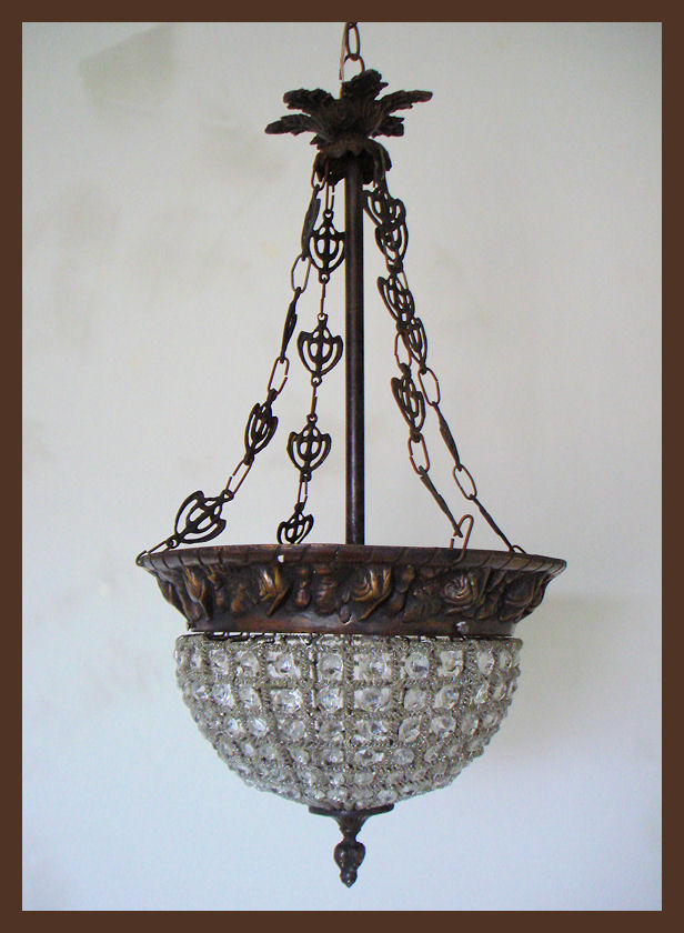 Beautiful French Beaded Pendant Hanging Chandelier