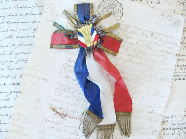 Old French Award Ribbon Metallic Fringe-
